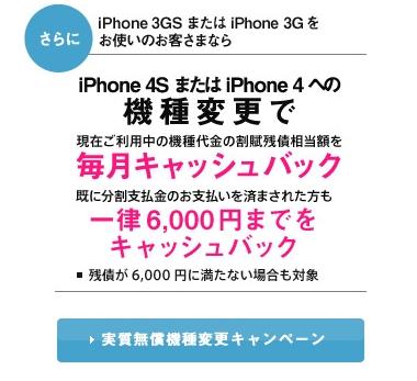 iPhone 3GS 4S 無償機種変